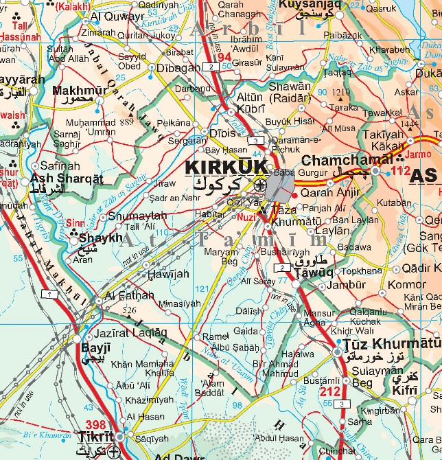 iraq physical and touristic road map road and touristic geographical map