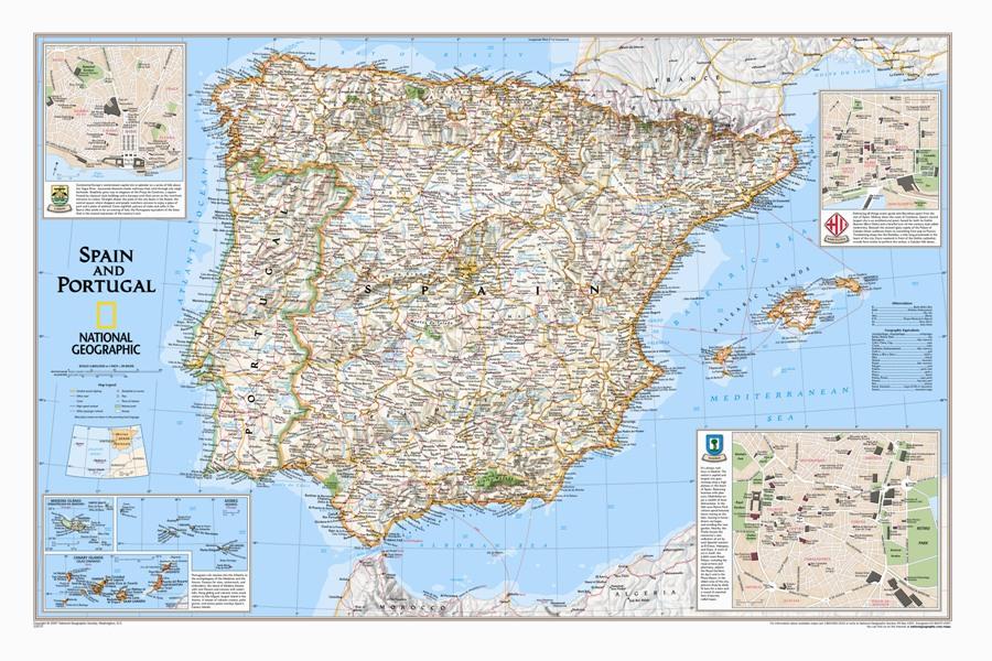 Portogallo Cartina Geografica Politica.Spagna Portogallo Classica Politica Carta Geografica Murale