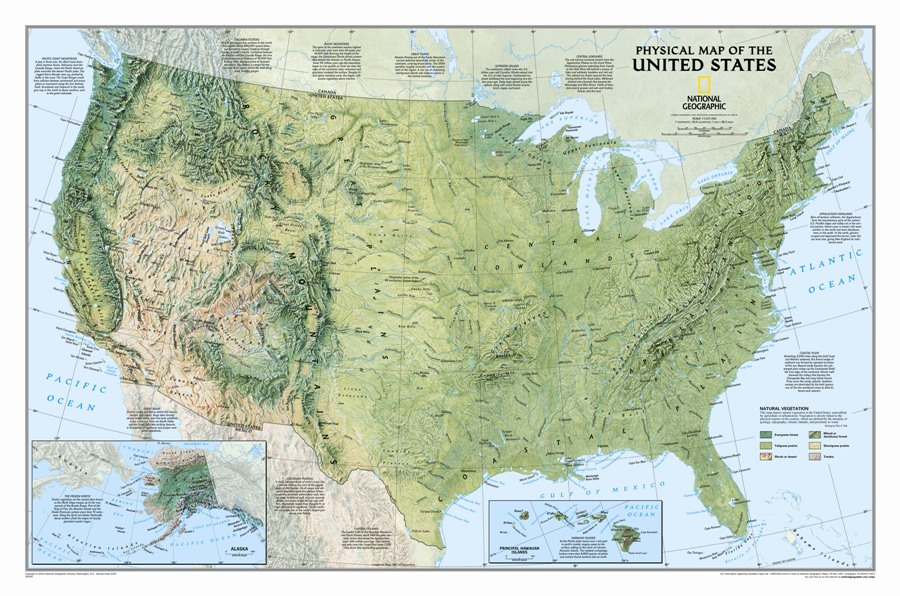USA physical - wall geographical map