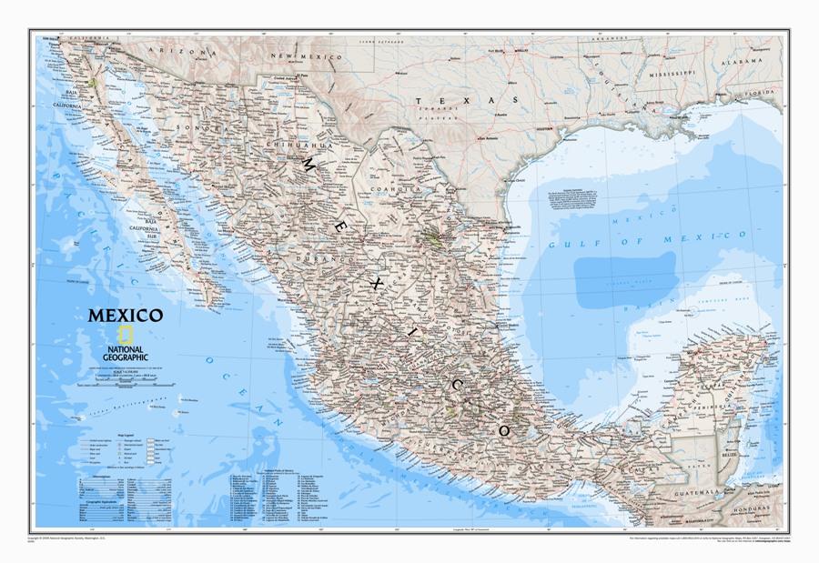 Cartina Politica Messico.Messico Classico Politico Plastificato Carta Geografica Murale