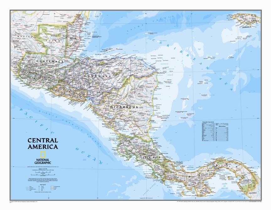 Cartina Politica Centro America.America Centrale Classica Politica Carta Geografica Murale