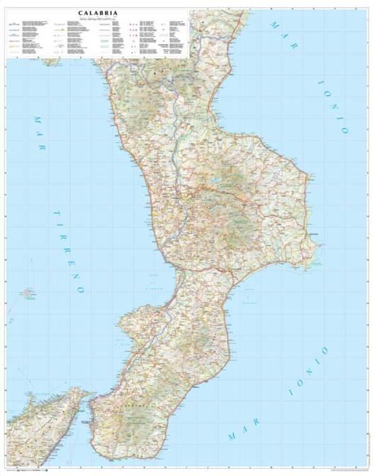 Cartina Geografica Calabria.Calabria Carta Geografica Murale