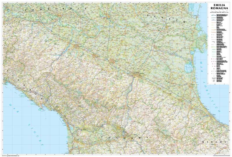 Cartina Topografica Emilia Romagna.Emilia Romagna Carta Geografica Murale