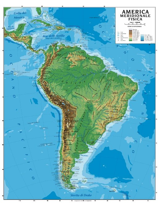 Cartina Geografica Politica Del Messico.South America Political Physical Scholastic Map Wall Geographical Map