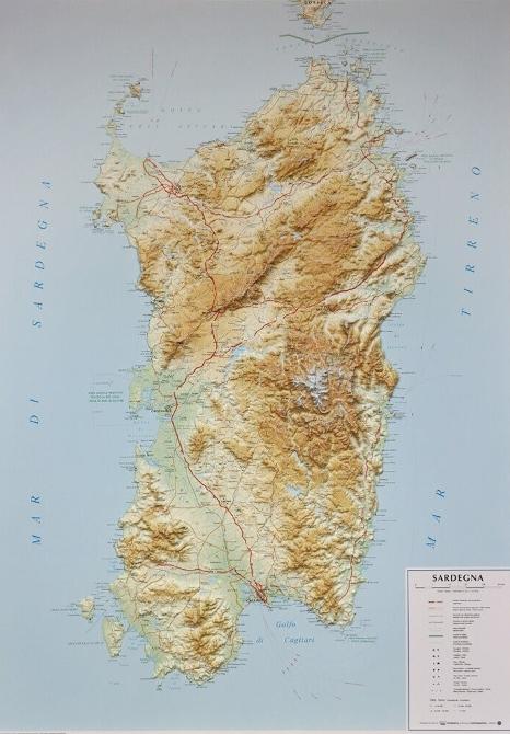 Cartina Sardegna Rilievo.Sardegna Carta In Rilievo