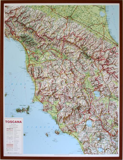 Cartina Geografica Della Toscana.Toscana Carta In Rilievo Con Cornice