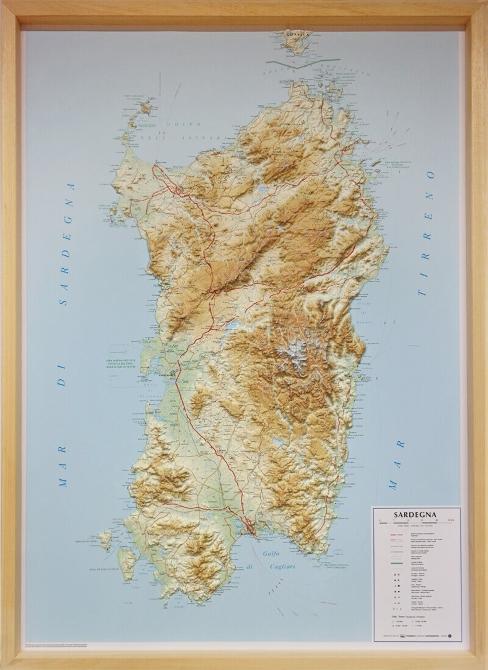 Cartina Sardegna Rilievo.Sardegna Carta In Rilievo Con Cornice