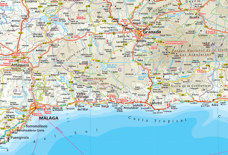 Cartina Dell Andalusia Spagna.Andalusia Carta Geografica Toristica E Stradale