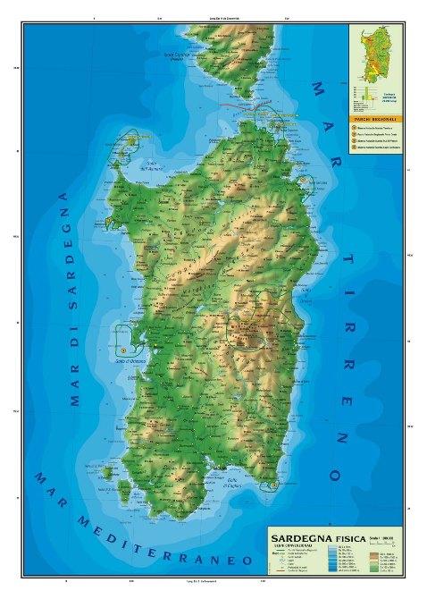 Cartina Politica Sardegna.Sardegna Politica Fisica Plastificata Scolastica Carta Geografica Murale