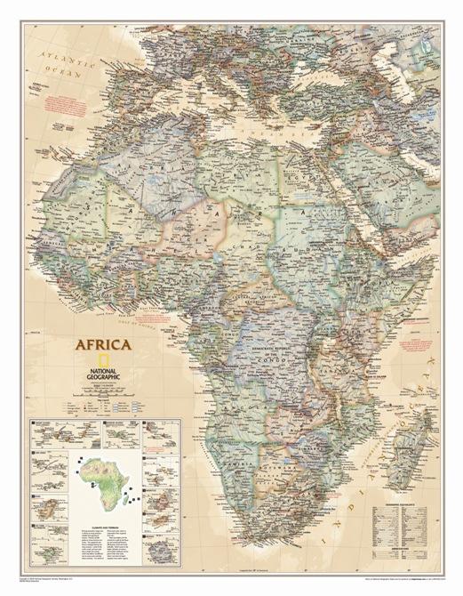 Cartina Giografica Africa.Africa Antichizzata Politica Carta Geografica Murale