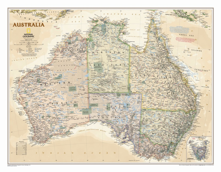 australia executive political wall geographical map