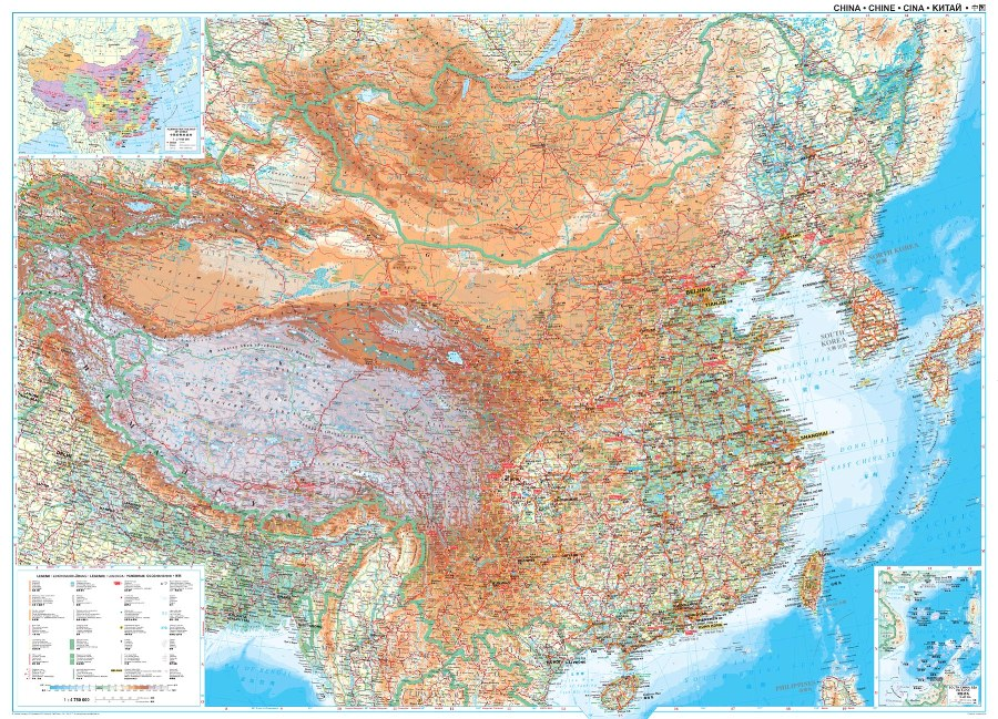 Cina Cartina Fisica Geografica.Cina Fisica E Stradale Carta Geografica Murale