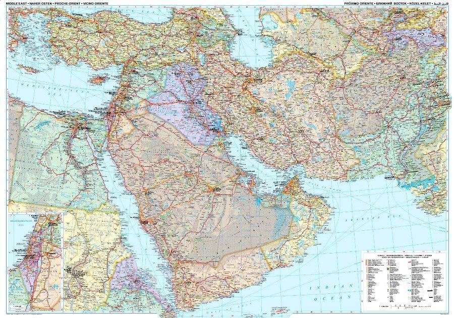 Politica Cartina Geografica Medio Oriente.Medio Oriente Politico Carta Geografica Murale
