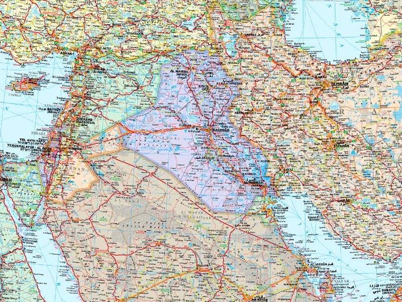 Medio Oriente Cartina Fisica.Medio Oriente Politico Carta Geografica Murale