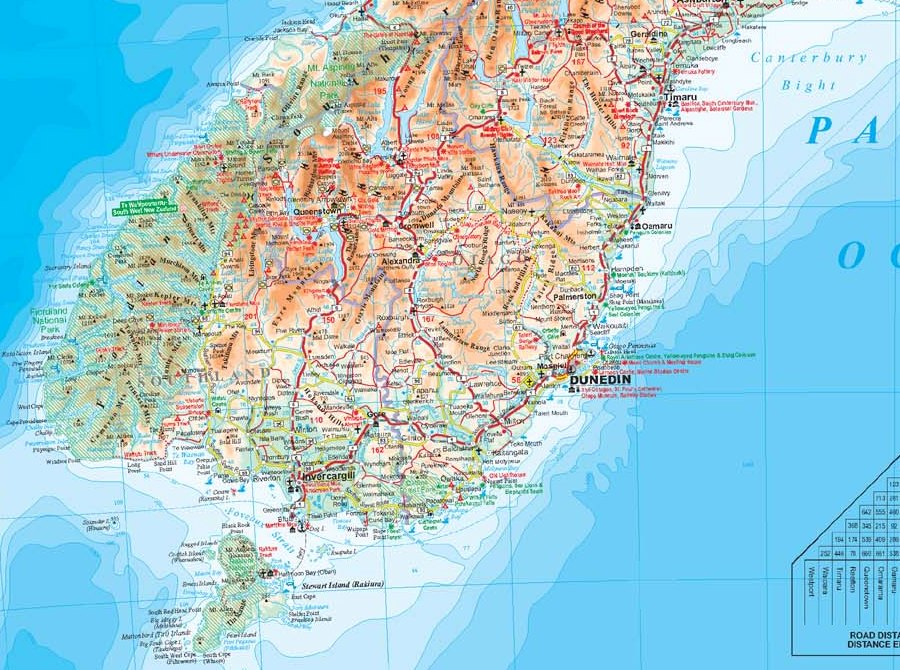 Geographical Map Of New Zealand.New Zealand Geographical Physical Road Map Wall Geographical Map