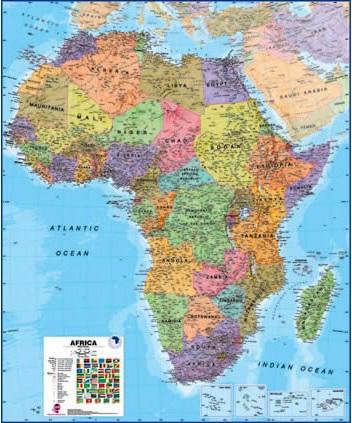 Cartina Geografica Africa Politica.Africa Politica Carta Geografica Murale