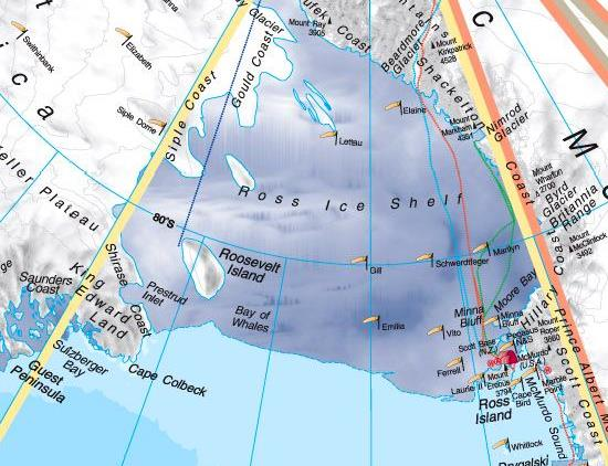 Antarctica political/physical encapsulated - wall geographical map