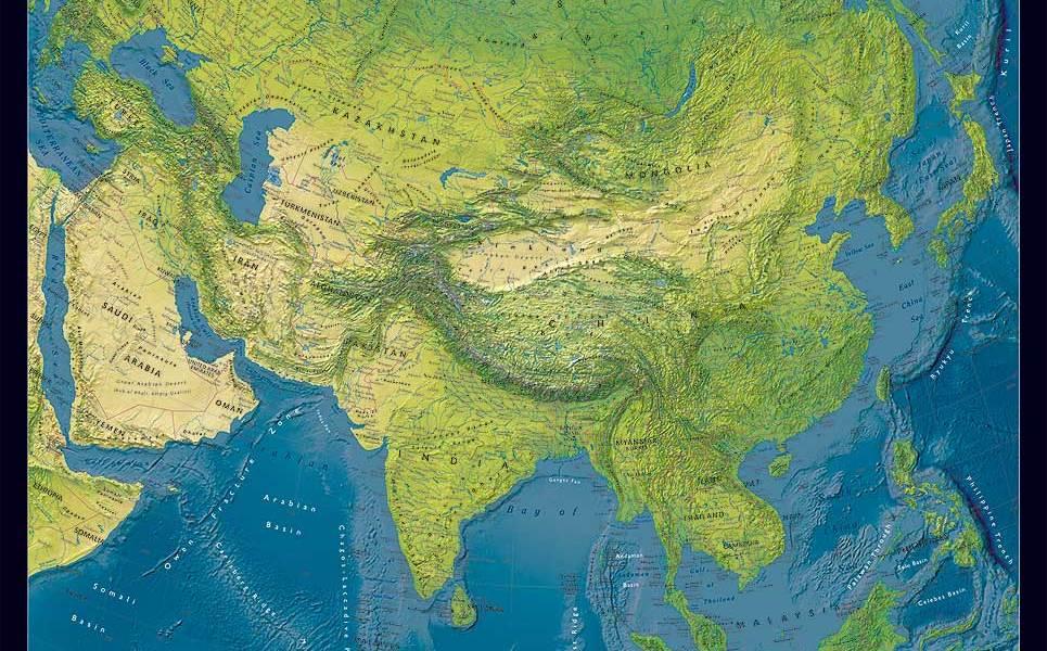 Cartina Asia Fisica.Asia Politica Fisica Carta Geografica Murale