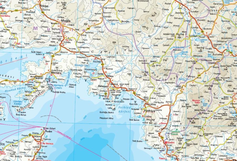 Mediterraneo Cartina Geografica.Turchia Costa Mediterranea Carta Geografica Toristica E Stradale