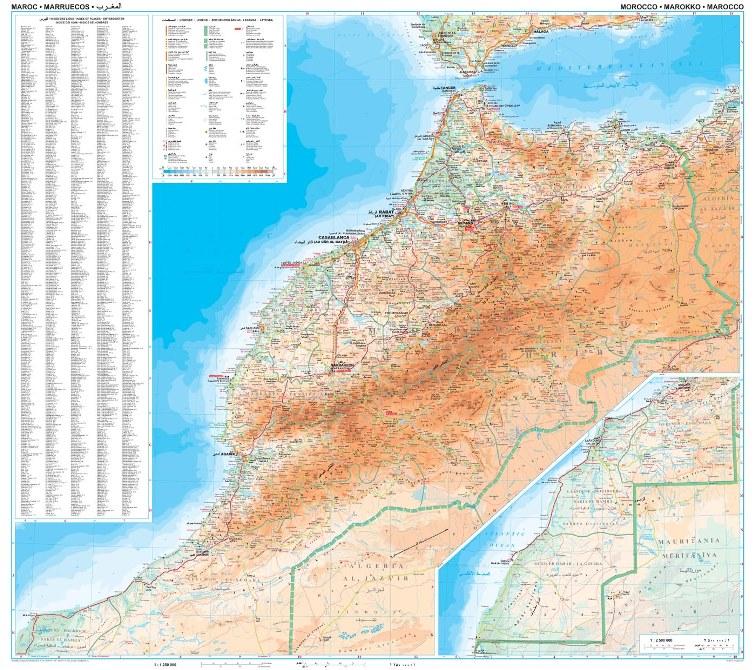 Marocco Cartina Stradale.Marocco Fisico E Turistico Stradale