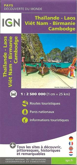 Tra Vietnam E Thailandia Cartina Geografica.Vietnam Laos Cambogia Thailandia Carta Geografica Turistica E Stradale