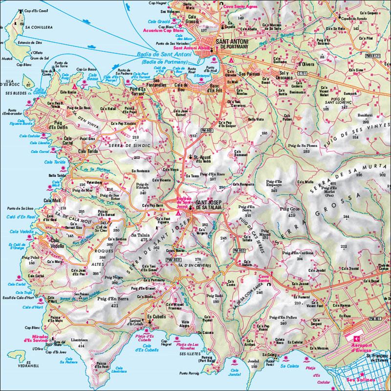 Cartina Geografica Spagna E Formentera.Ibiza Formentera Carta Geografica Turistica E Stradale